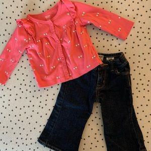 Osh Kosh Jeans with Cardigan!